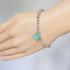 Tiffany & Co. Beaded Enamel Mini Heart Bracelet